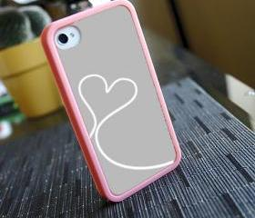 Grey and White Love Custom Insert with Pink Bumper for iPhone 4 And 4s