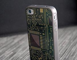 iPhone 4 or 4s Metallic Computer Chip Grey Silicone Case